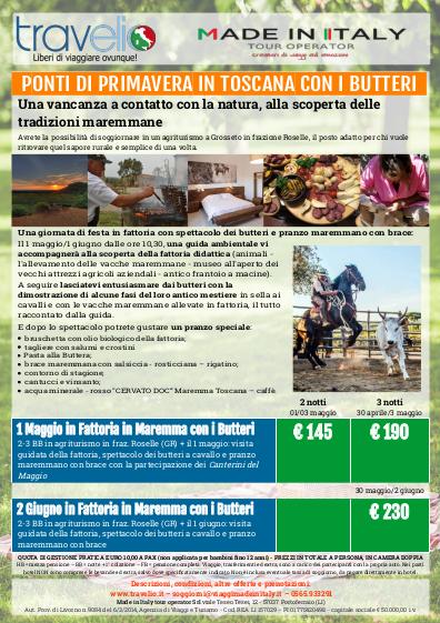 la locandina di Ponti di Primavera in Toscana con i Butteri
